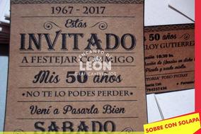 Tarjetas Invitaciones Cumpleaños 50 70 Años Hombre 30 Unidad