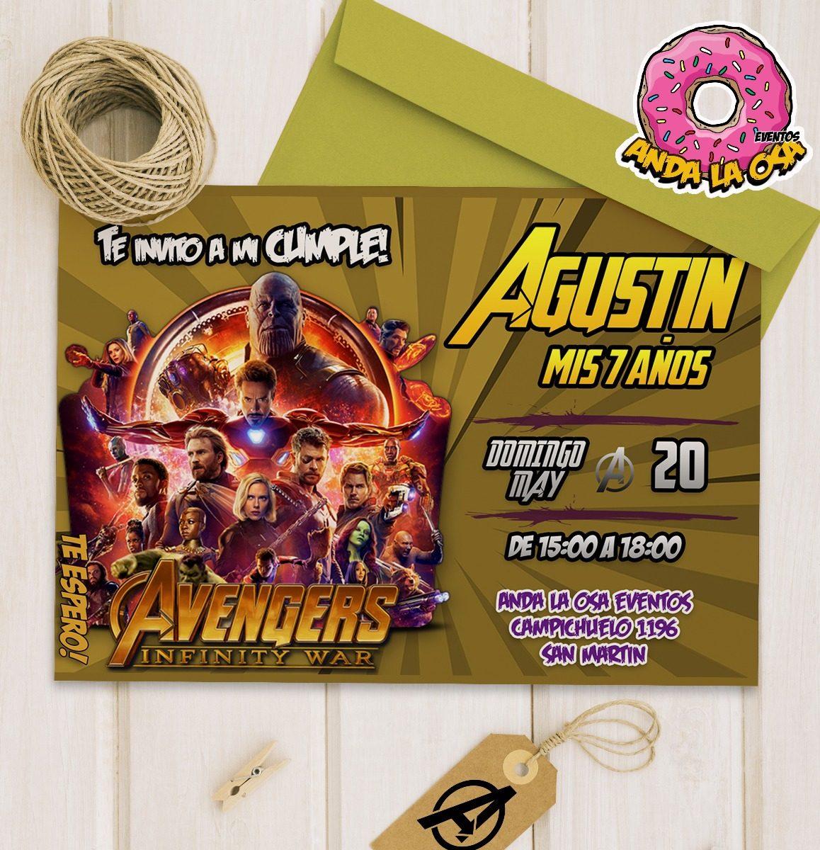 Tarjetas Invitaciones Cumpleaños Avengers X10uni