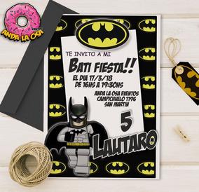 Tarjetas Invitaciones Cumpleaños Batman Lego X10uni