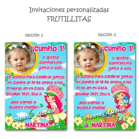 6e7b8bbfd Tarjetas Invitaciones Cumpleaños + Cartel C Foto Frutillita - $ 350 ...