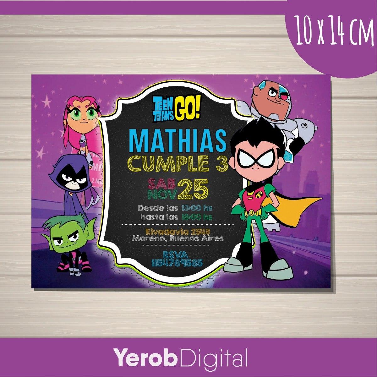 Tarjetas Invitaciones Cumpleaños Digital Jovenes Titanes Go