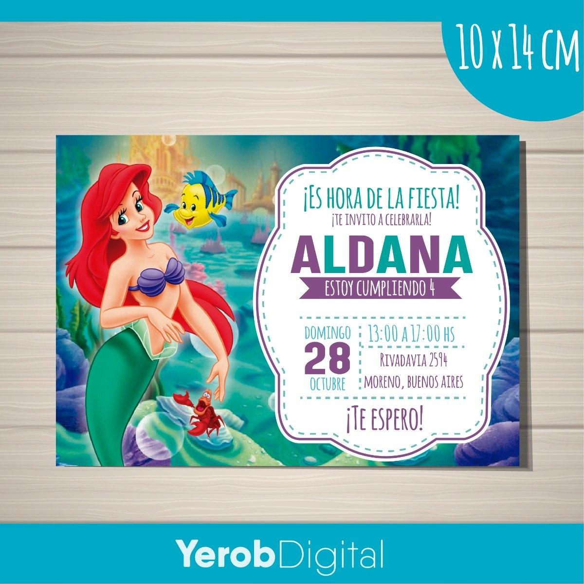 Tarjetas Invitaciones Cumpleaños Digital La Sirenita
