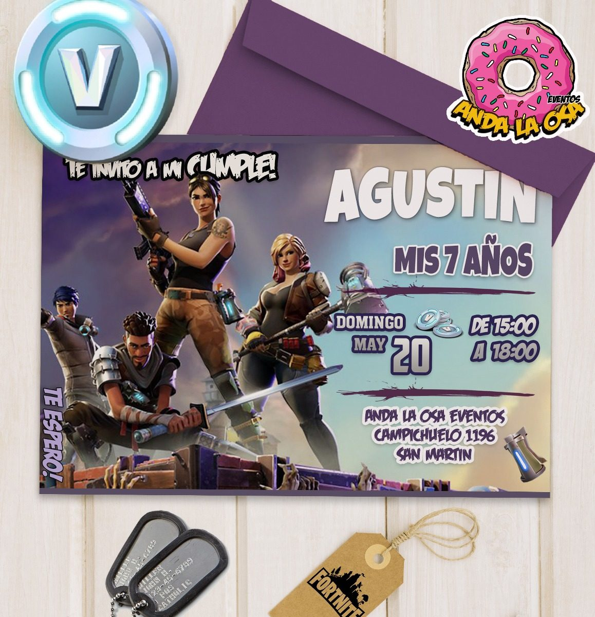Tarjetas Invitaciones Cumpleaños Fortnite X 10uni