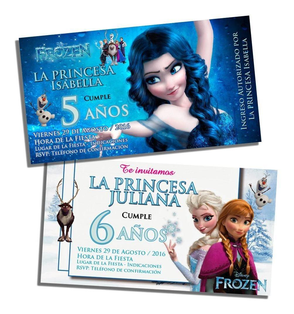 Tarjetas Invitaciones Cumpleaños Frozen Sobres