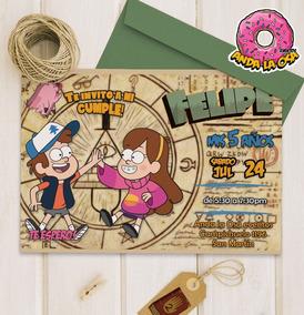 Tarjetas Invitaciones Cumpleaños Gravity Falls X 10uni