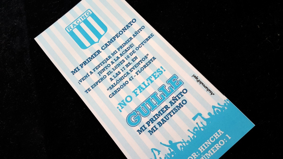 Tarjetas Invitaciones Cumpleaños Infantil Futbol San Lorenzo