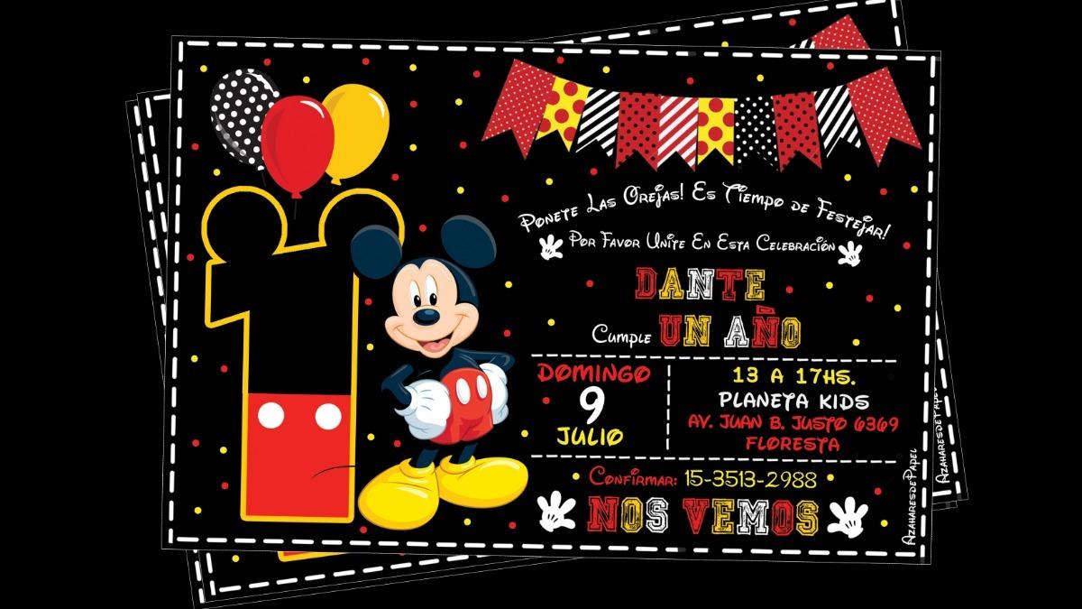 Tarjetas Invitaciones Cumpleaños Infantil Mickey Pizarra