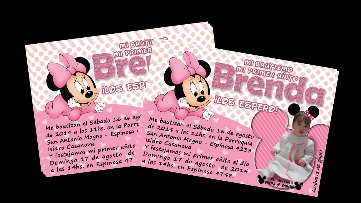 Tarjetas Invitaciones Cumpleaños Infantil Minnie Bebe Foto