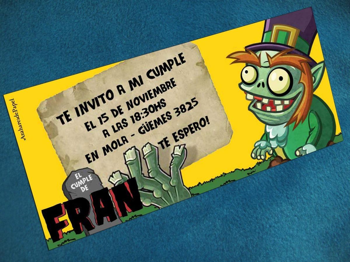 Tarjetas Invitaciones Cumpleaños Infantil Plants Vs Zombies