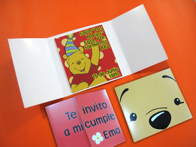Tarjetas Invitaciones Cumpleaños Infantil Winnie Pooh Oso