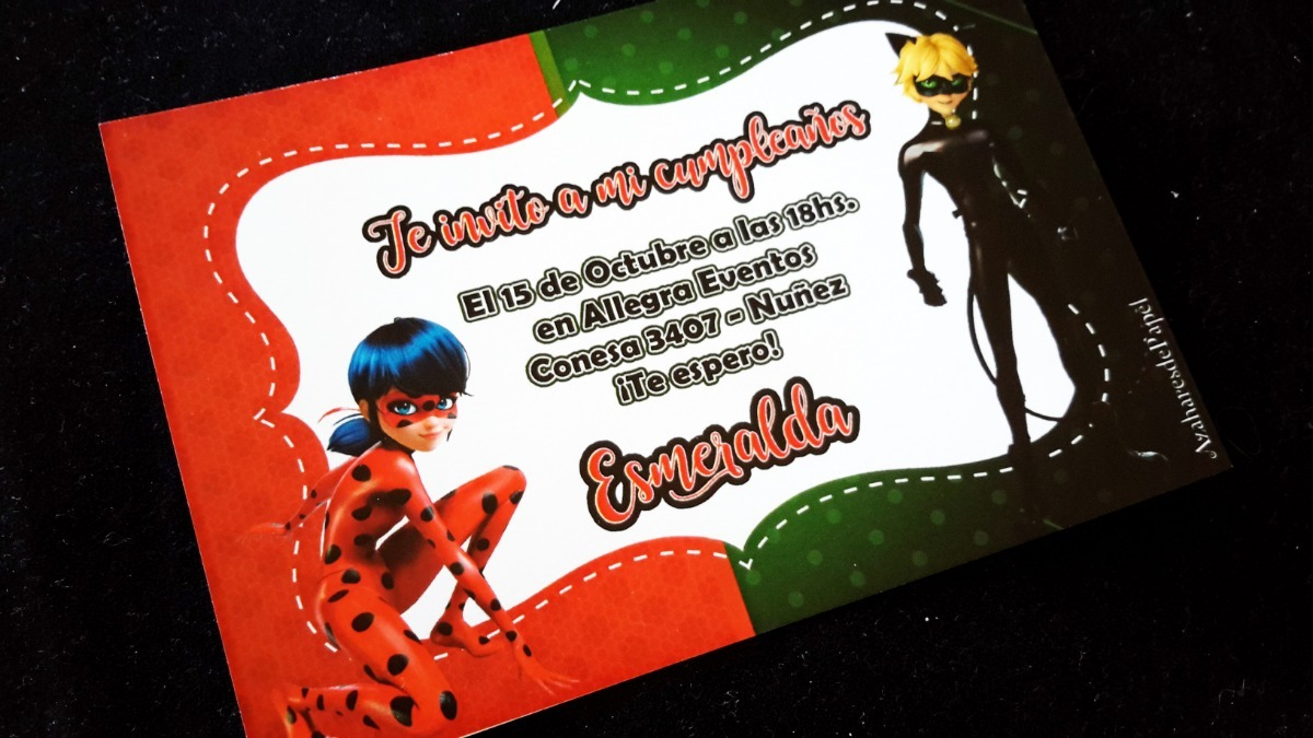 Tarjetas Invitaciones Cumpleaños Ladybug Miraculous