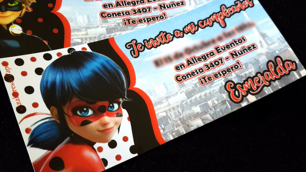 Tarjetas Invitaciones Cumpleaños Miraculous Ladybug Ticket