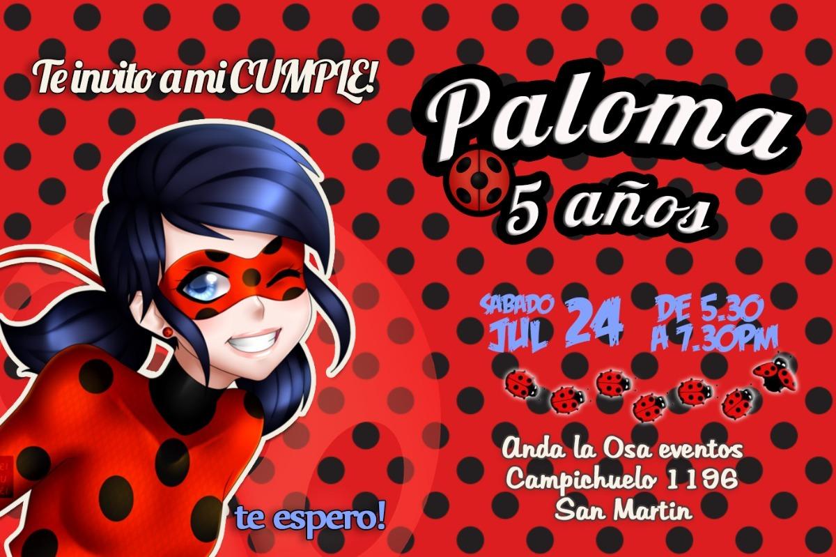 Tarjetas Invitaciones Cumpleaños Miraculous Ladybug X10uni