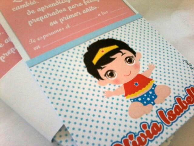 Tarjetas Invitaciones Cumpleaños Mujer Maravilla Bebe Beba
