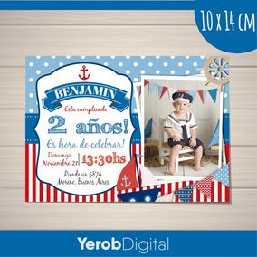 Tarjetas Invitaciones Cumpleaños Nautica 2 Pack X10 Uni