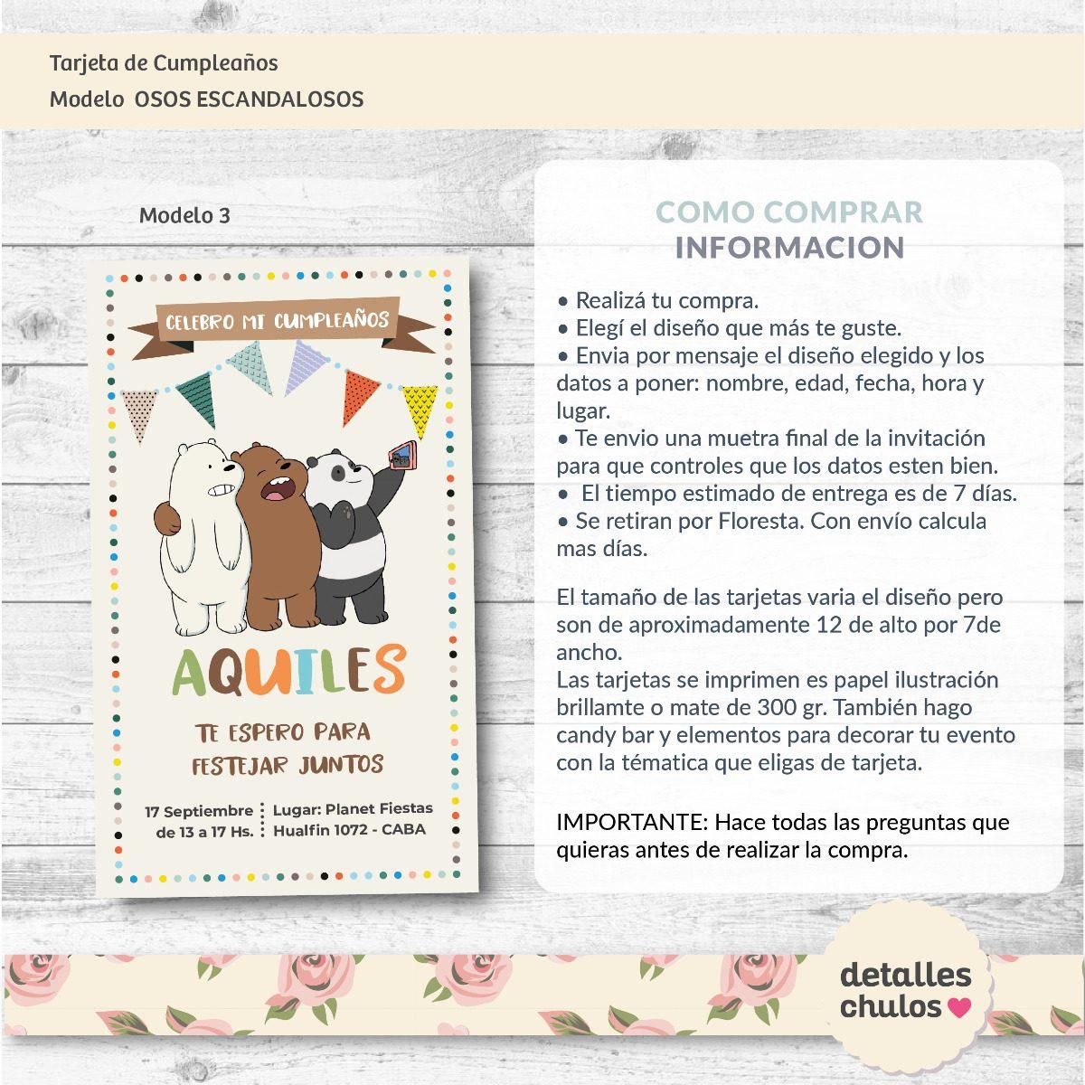 Tarjetas Invitaciones Cumpleaños Osos Escandalosos -   9 fc331d1c0d1
