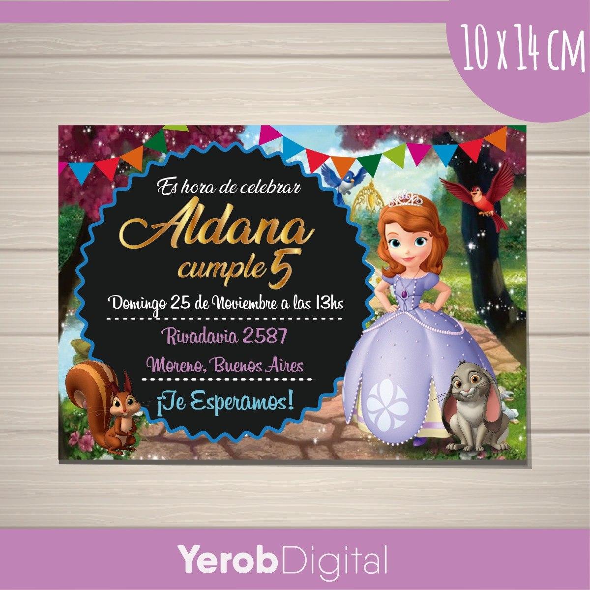 Tarjetas Invitaciones Cumpleaños Princesa Sofia Digital