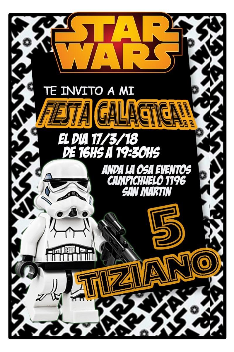 Tarjetas Invitaciones Cumpleaños Star Wars Lego X10uni