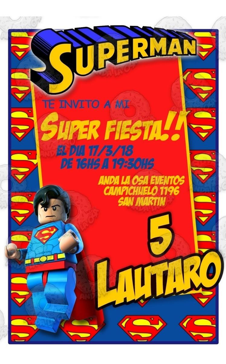 Tarjetas Invitaciones Cumpleaños Superman Lego X10uni