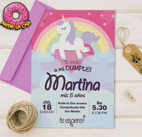 Tarjetas Invitaciones Cumpleaños Unicornios X 10uni