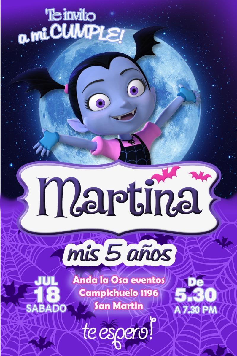 Tarjetas Invitaciones Cumpleaños Vampirina X10uni