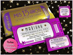 Tarjetas Invitaciones De 15 Ticket Violeta Y Oro Originales