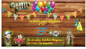 Tarjetas Invitaciones De Cumpleaños Gravity Falls