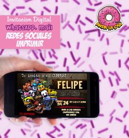 Tarjetas Invitaciones Digital Five Nights At Freddy S