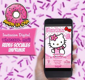 Tarjetas Invitaciones Digital Hello Kitty