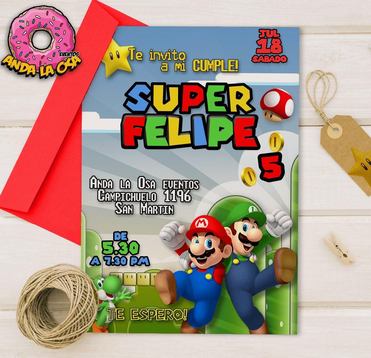 Tarjetas Invitaciones Digital Mario Bros