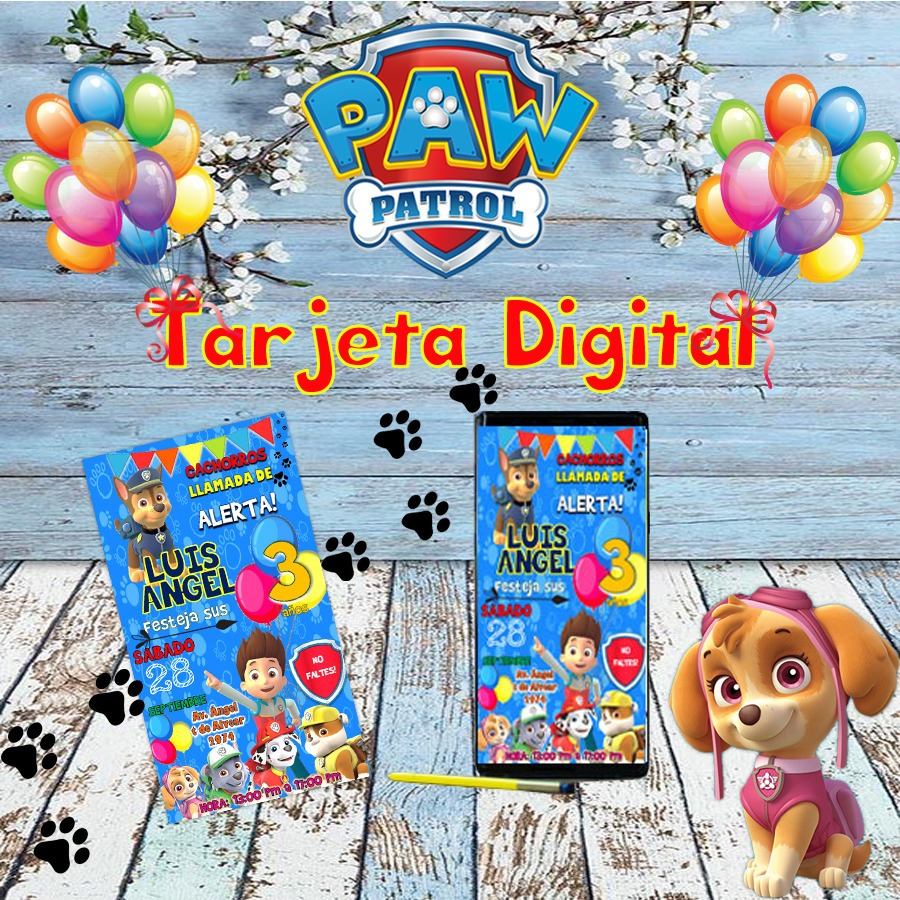 Tarjetas Invitaciones Digital Paw Patrol
