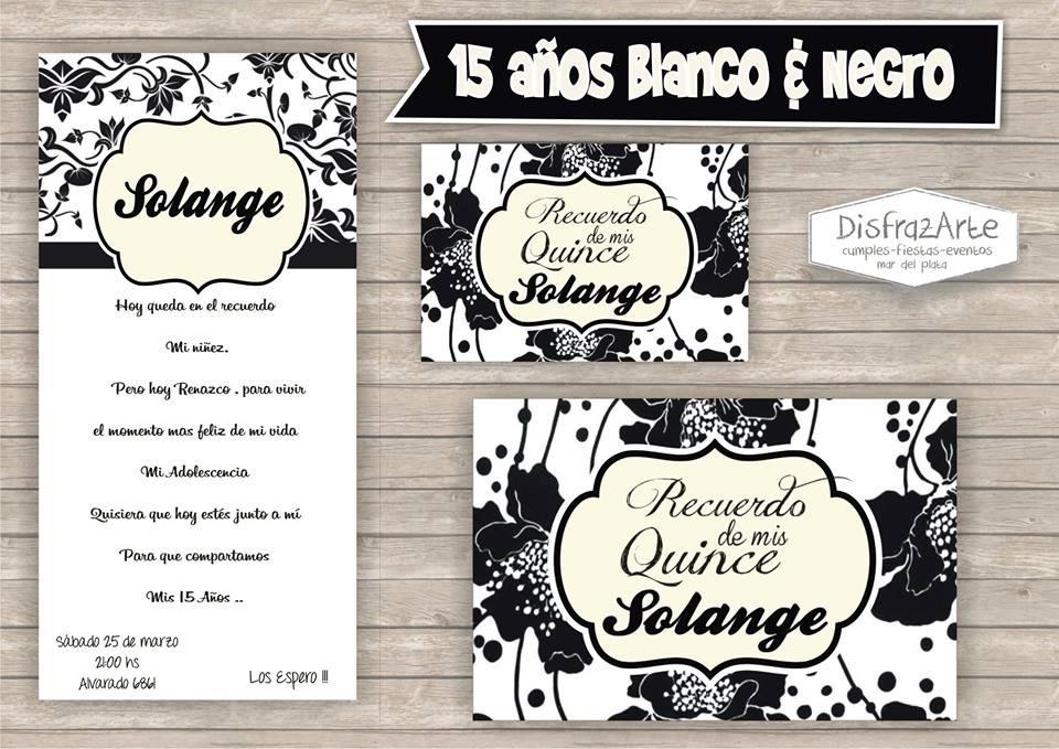 Tarjetas Invitaciones Digitales 15 Años En Blanco Y Negro
