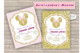 Tarjetas Invitaciones Digitales Minnie Rosa Y Dorado