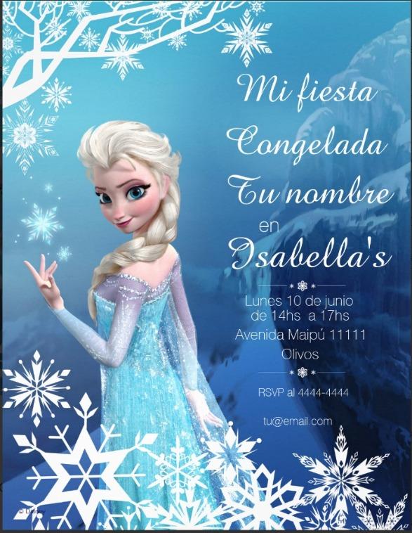 Tarjetas Invitaciones Frozen Infantiles únicas X 12 Unid