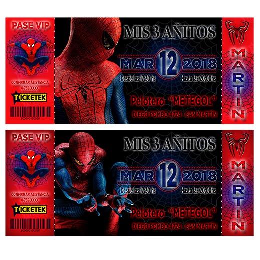Tarjetas Invitaciones Infantiles Hombre Araña X10 Unidades