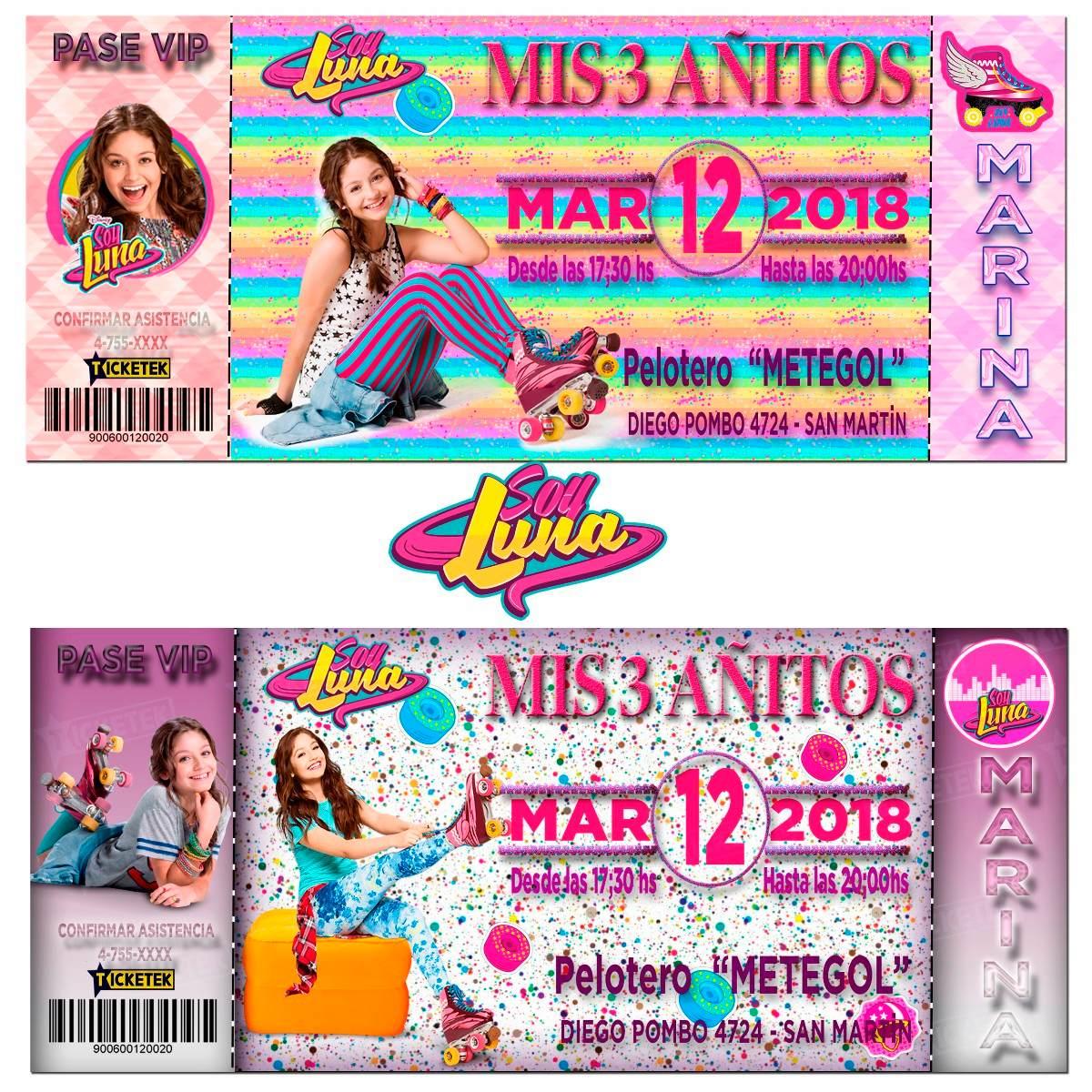 Tarjetas Invitaciones Infantiles Soy Luna Pack X10 En 24 Hs