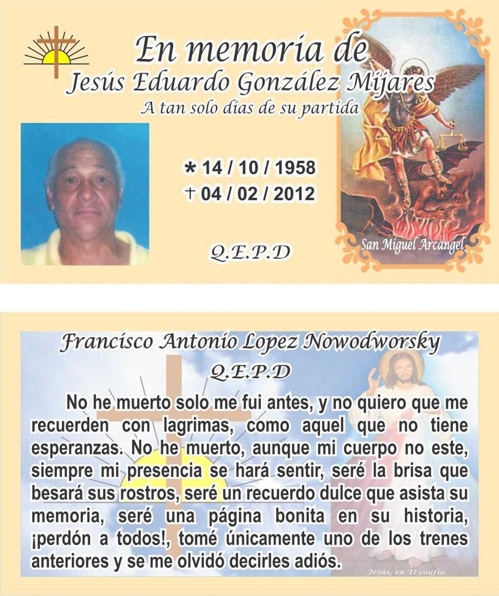 Tarjetas Invitaciones Novenario Recordatorio Misa