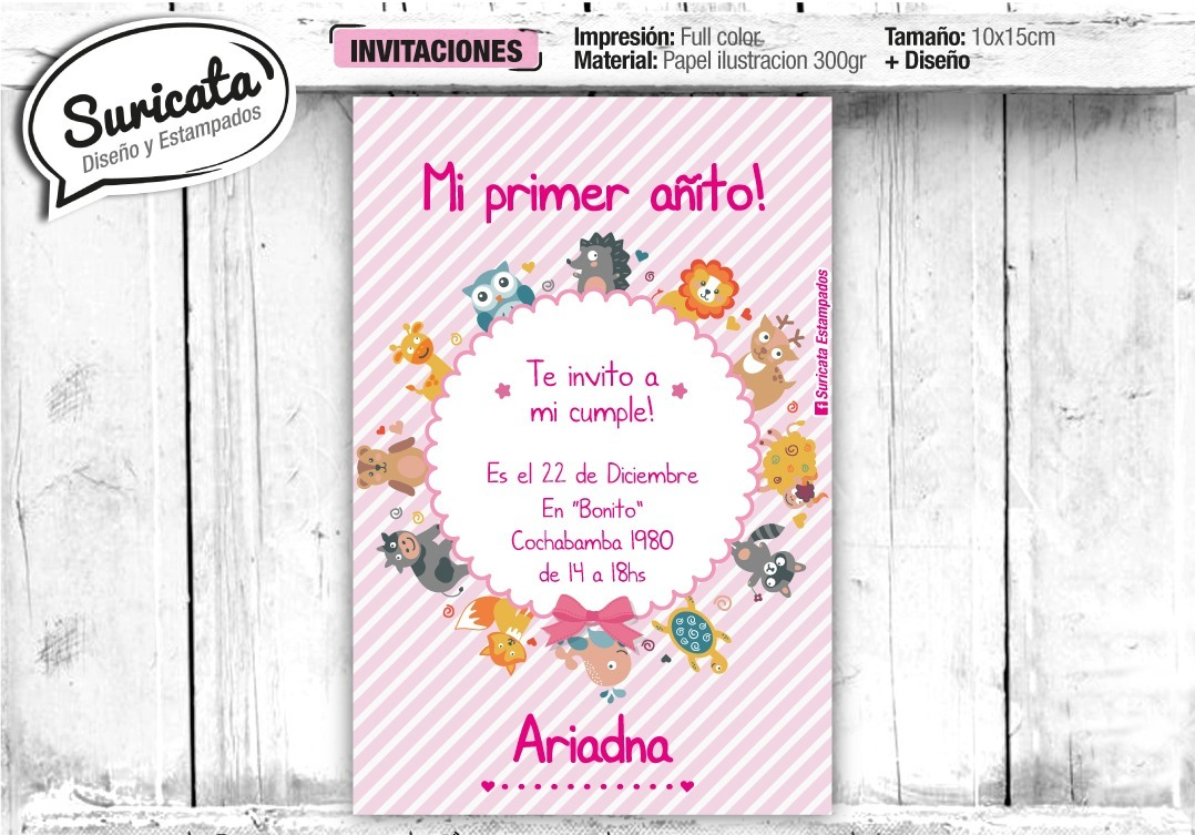 Tarjetas Invitaciones Para Niños 8x12cm Local En Once