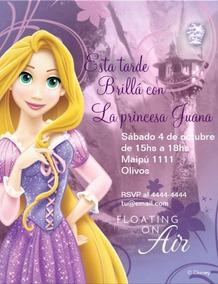 Tarjetas Invitaciones Rapunzel Infantiles únicas X 12