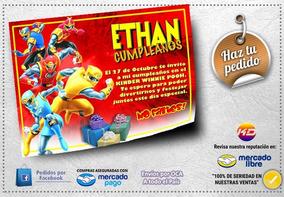 Tarjetas Kd Cumpleaños Invitación Infantil Power Rangers