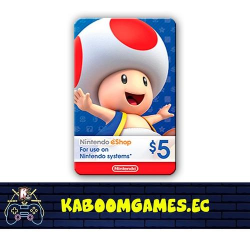 tarjetas nintendo e-shop desde 5$ - 99$. sin recargos!