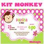 Kit Imprimible Pink Monkey Love Invitaciones Fiesta Baby