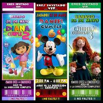 Tarjeta Invitación Cumpleaños Infantil Tipo Ticket 2015