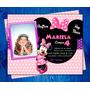 Invitación De Cumpleaños Minnie Mouse Disney 2016 Photoshop