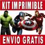 Vengadores Kit Imprimible Invitaciones + Regalo