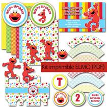 Kit Imprimible Elmo Plaza Sesamo Fiesta Niño-diy