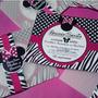Minnie Mouse-cebra&esferas -tarjeta De Invitación Personal