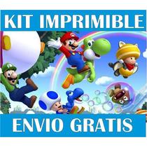 2x1 Mario Bros Kit Imprimible Invitaciones + Regalo