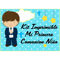 Kit Imprimible Comunion Niño Tarjetas Candy Bar Cotillon 3x1