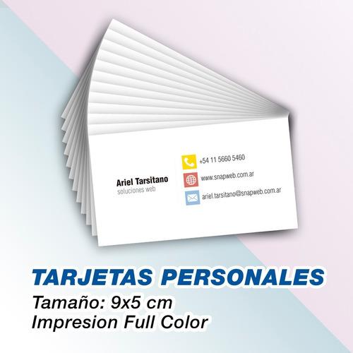 tarjetas personales  full color 9x5 en 24hs ya!